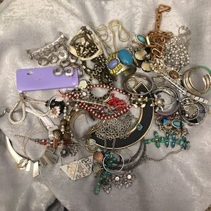 Lot of junk jewelry for crafting